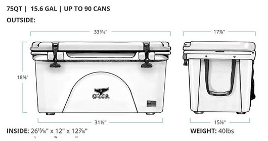 ORCA 75 Quart Cooler Dimensions