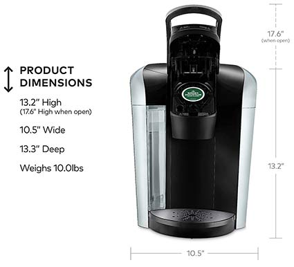 Keurig K475 and K575 Dimensions